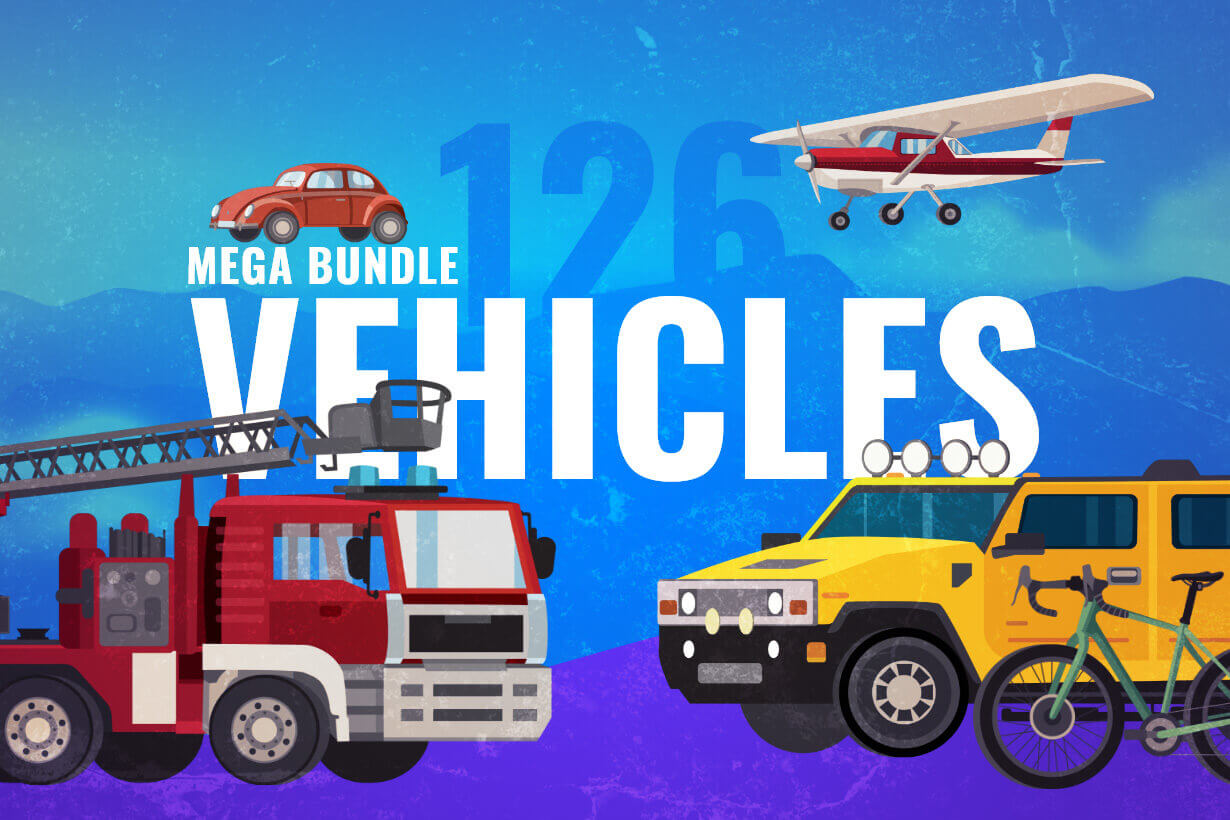 vector vehicle graphics - Flat Car, Truck, Bicycle, Plane Graphics Mega Bundle