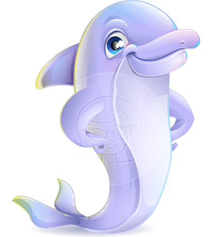 Cute Dolphin Cartoon Vector Character