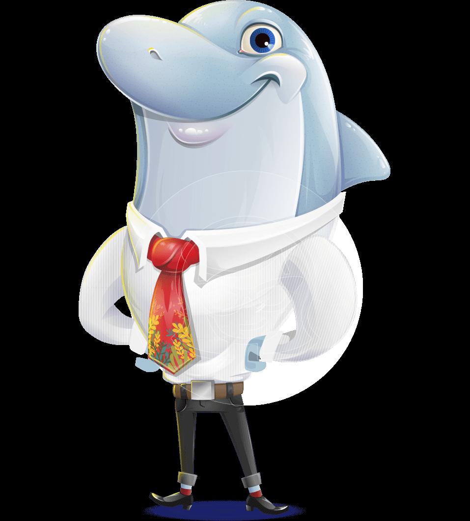 Smart Business Dolphin Cartoon Character