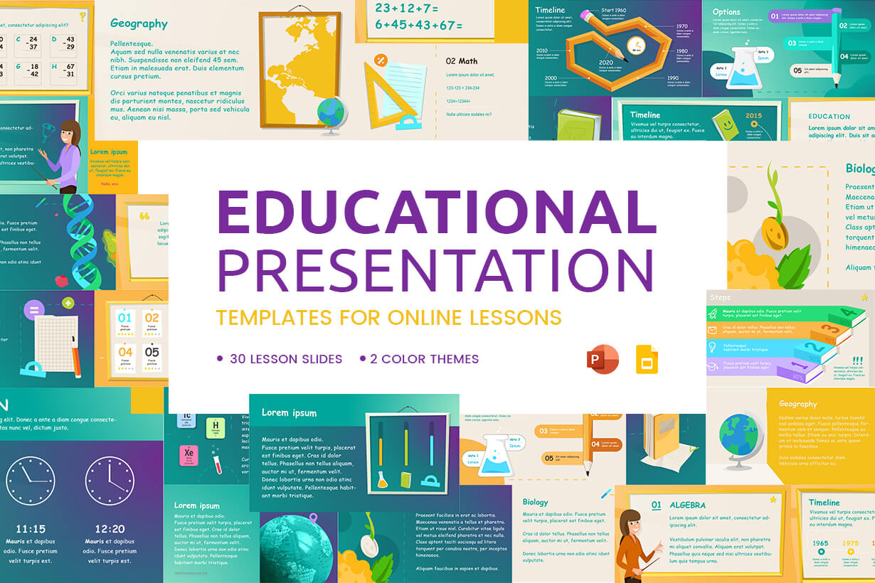 Educational Presentation Templates for Online Lessons - PowerPoint and Google Slides
