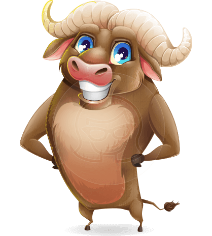 Funny Buffalo Cartoon Character