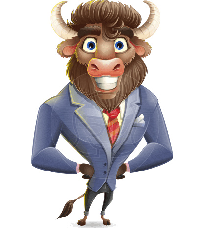 Corporate Buffalo Cartoon Vector Character