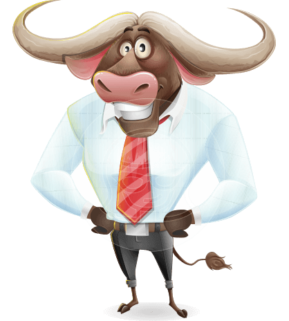 Business Buffalo Cartoon Vector Character