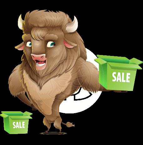 Cute Buffalo Cartoon Vector Character