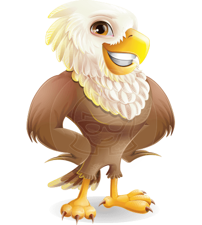 Cute Eagle Cartoon Vector Character