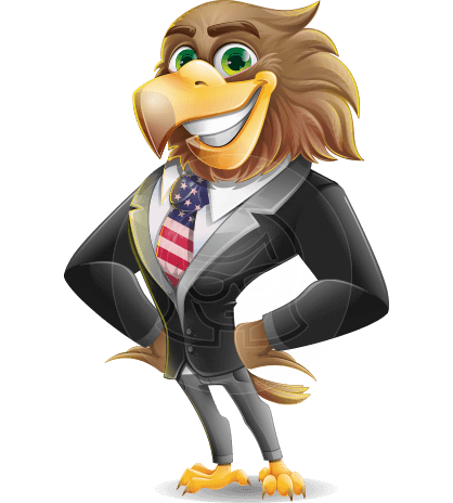 Patriotic American Eagle Cartoon Character