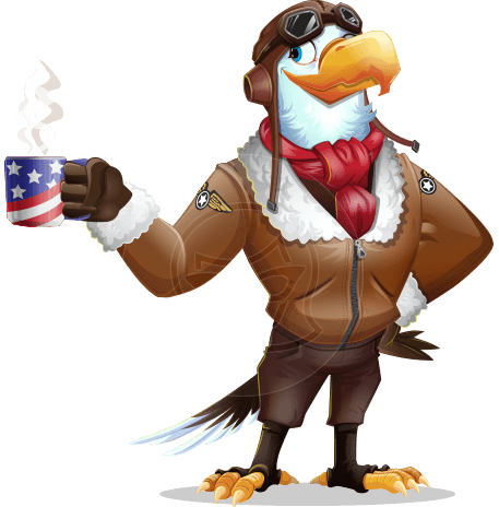 Eagle Aviator Cartoon Vector Character
