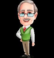 Elderly Teacher with Moustache Cartoon Character