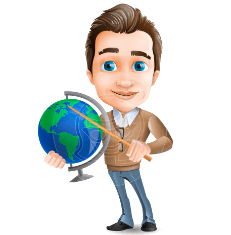 Young Male Teacher Cartoon Character