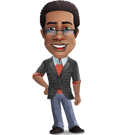 Smart African-American Teacher Cartoon Vector Character