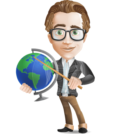 Male Teacher With Glasses Cartoon Character