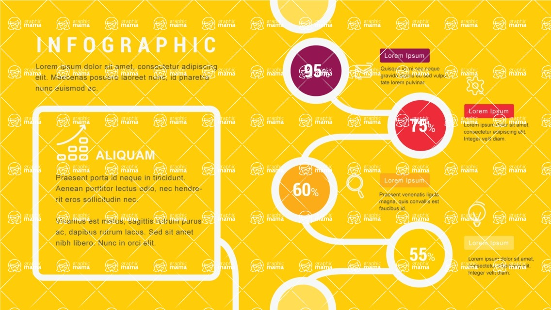 Infographic Templates Collection - Vector, Photoshop, PowerPoint, Google Slides - Yellow Infographic Template with Percents