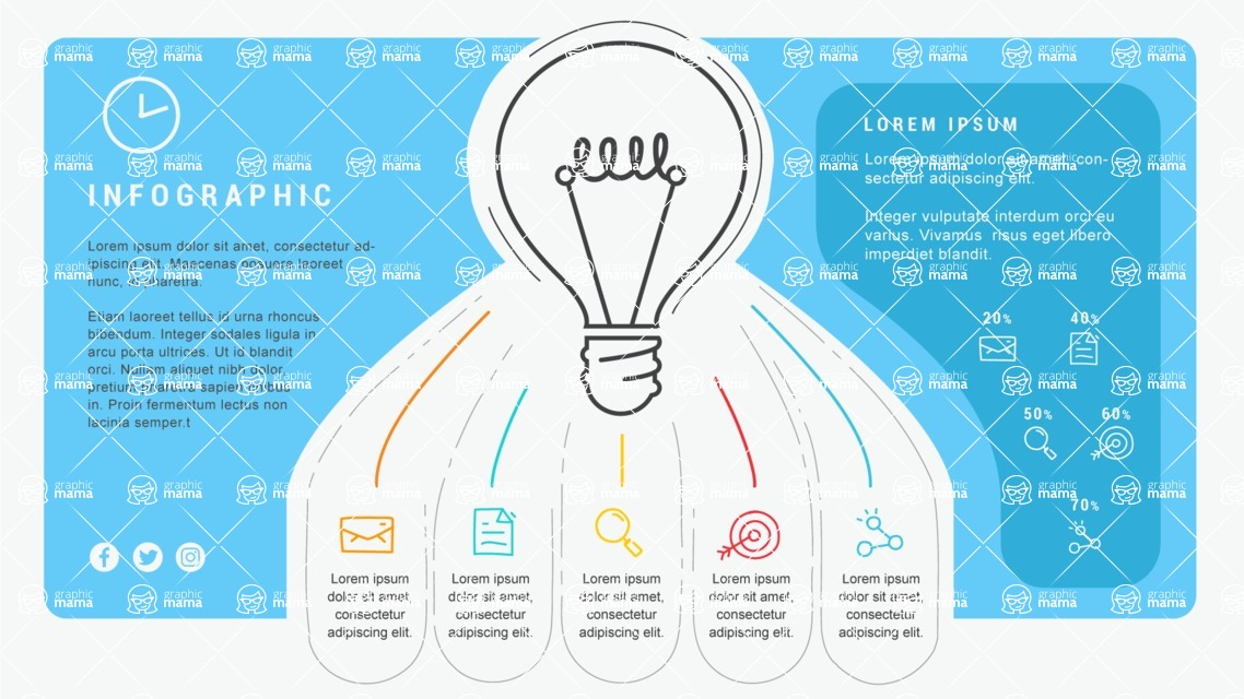 Infographic Templates Collection - Vector, Photoshop, PowerPoint, Google Slides - Light Bulb Infographic Template