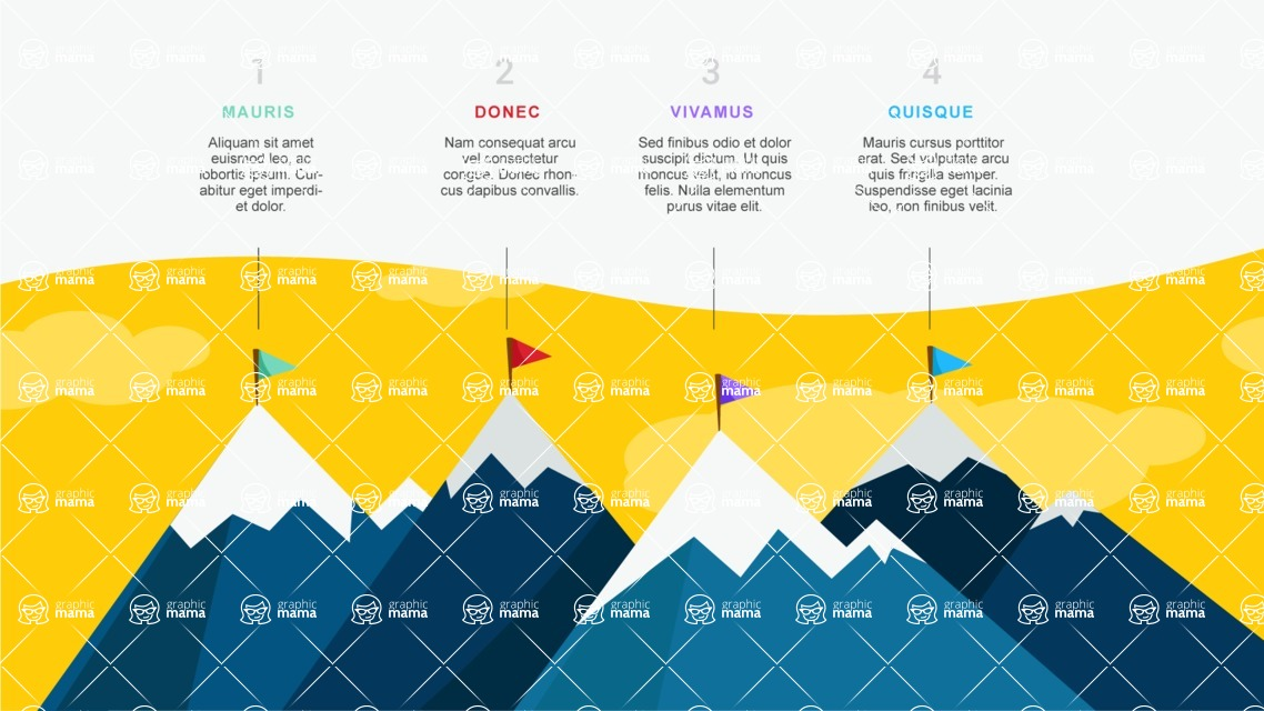 Infographic Templates Collection - Vector, Photoshop, PowerPoint, Google Slides - Infographic Template with Mountains Top