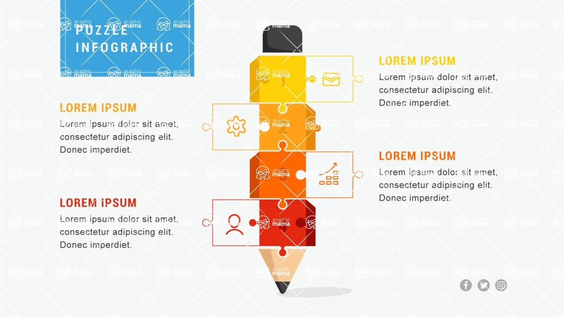 Infographic Templates Collection - Vector, Photoshop, PowerPoint, Google Slides - Puzzle Infographic Template with Pencil