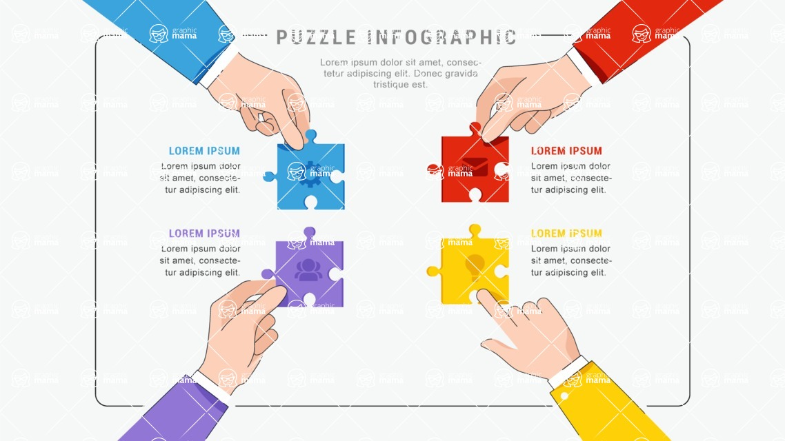 Infographic Templates Collection - Vector, Photoshop, PowerPoint, Google Slides - Infographic Template with Team Holding Puzzle Pieces