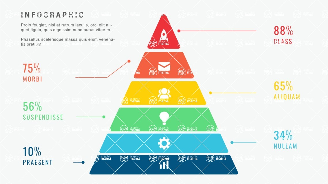 Infographic Templates Collection - Vector, Photoshop, PowerPoint, Google Slides - 6 Steps Minimalist Pyramid Infographic Template