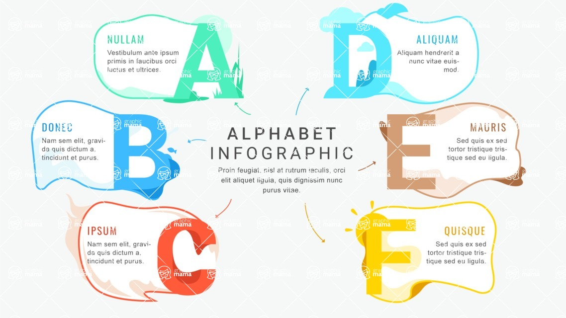 Infographic Templates Collection - Vector, Photoshop, PowerPoint, Google Slides - Letters Infographic Template - A B C D E F