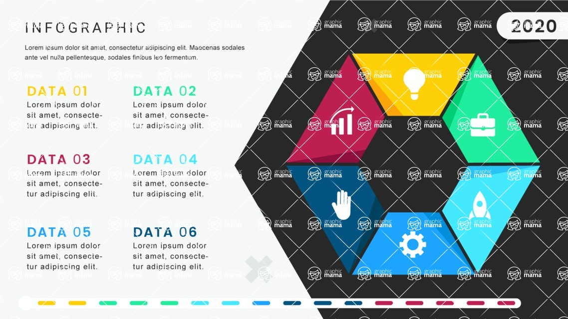 Infographic Templates Collection - Vector, Photoshop, PowerPoint, Google Slides - 6 Options Hexagon Infographic Template