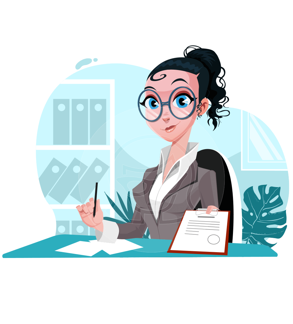 Modern Flat Business Woman Cartoon Character