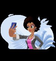 Modern African-American Girl Cartoon Character