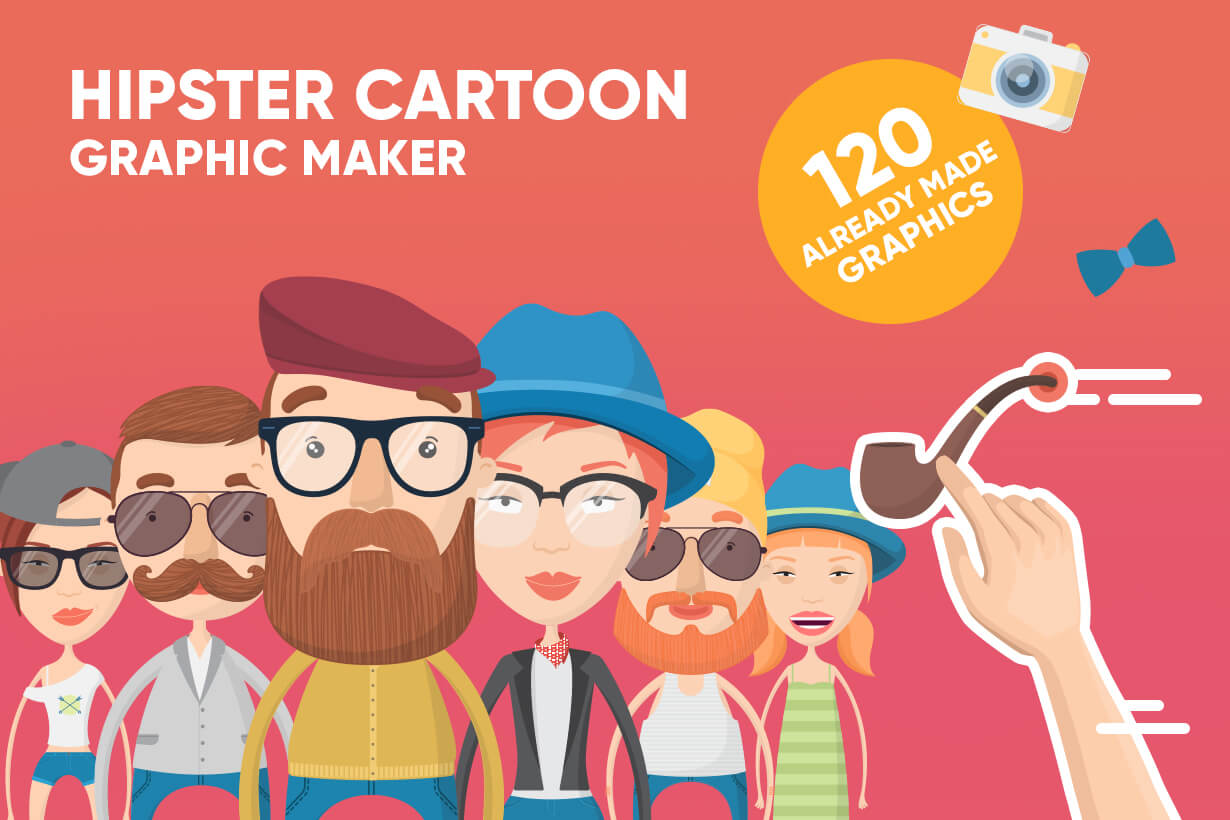 Hipster Cartoon Character Graphic Maker Design Bundle Graphicmama