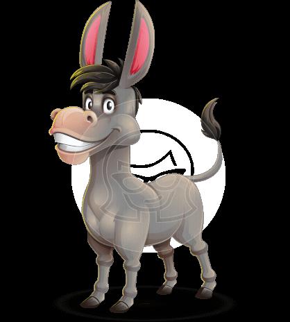 Funny Donkey Cartoon Character
