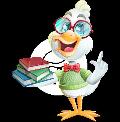 Smart White Duck Cartoon Vector Character