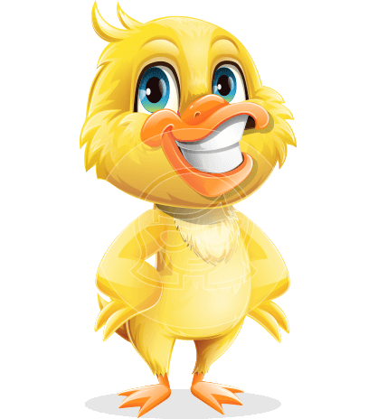 Cute Little Duck Cartoon Vector Character