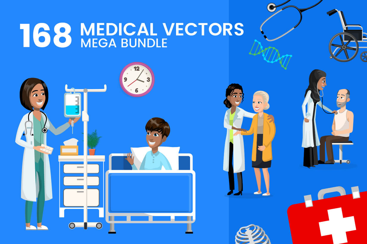 Medical Graphics Bundle - Doctors, Medical pack of vector graphics - editable characters, items, icons, illustrations, backgrounds