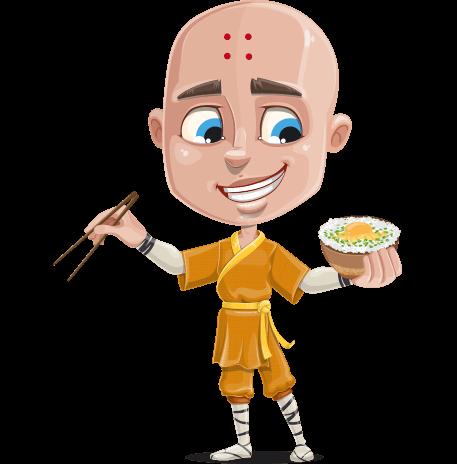 Monk Boy Cartoon Character Set