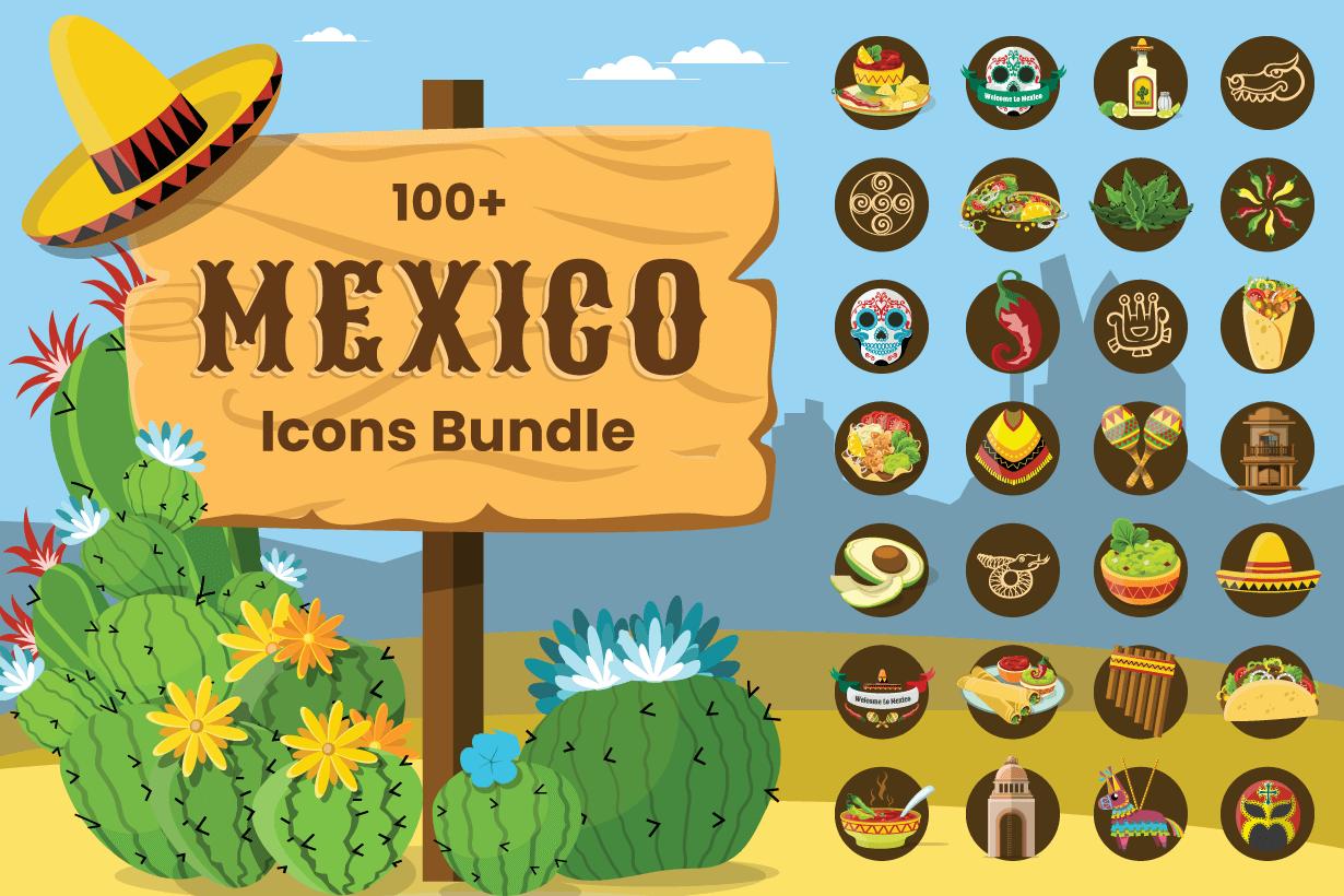 100+ Cartoon Mexico Icon Set