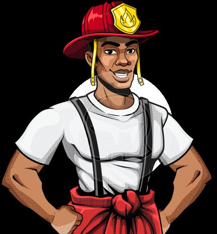 Cartoon Firefighter Man Character in Pop Art Style